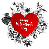 Cuore di carta rosso dei biglietti di S. Valentino Fotografia Stock