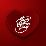 Cuore di carta rosso, iscrizione felice della penna della spazzola di San Valentino, vettore Fotografie Stock Libere da Diritti