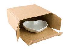 Cuore di ceramica in scatola di cartone Immagine Stock Libera da Diritti