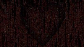 Cuore di codice della matrice composto di caratteri d'ardore che infiammano e che tremolano sul fondo nero Simbolo insolito di am illustrazione vettoriale