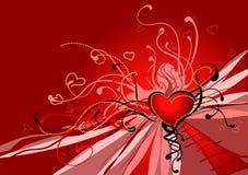 Cuore di colore rosso dei biglietti di S. Valentino Immagine Stock