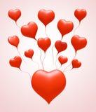 cuore di colore rosso di amore del galleggiante 3D Fotografie Stock Libere da Diritti