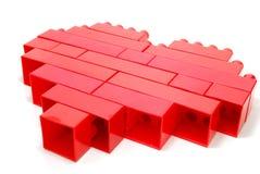 Cuore di colore rosso di Lego fotografia stock libera da diritti