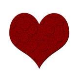 Cuore di giorno dei biglietti di S. Valentino con il reticolo rosso delle rose Immagini Stock Libere da Diritti