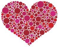 Cuore di giorno dei biglietti di S. Valentino in puntini dentellare e rossi Fotografia Stock