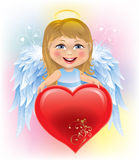 Cuore di giorno del bambino e del biglietto di S. Valentino di angelo Immagine Stock