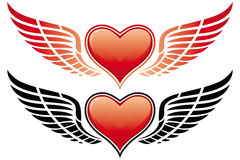 Cuore di giorno del biglietto di S. Valentino con l'ala royalty illustrazione gratis