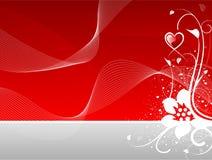Cuore di giorno del biglietto di S. Valentino floreale con le onde astratte illustrazione vettoriale