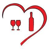 Cuore di giorno del ` s del biglietto di S. Valentino con vino Fotografie Stock