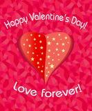 Cuore di giorno di biglietti di S. Valentino con le stelle Fotografia Stock