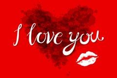 Cuore di giorno di biglietti di S. Valentino dell'acquerello che segna ti amo nel colore rosa, rosso ed arancio su fondo leggero  Fotografia Stock Libera da Diritti