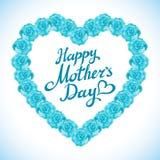 Cuore di giorno di madre fatto delle rose blu mazzo del cuore blu delle rose su fondo bianco cuore rosa mA di giorno di madre del Fotografia Stock Libera da Diritti