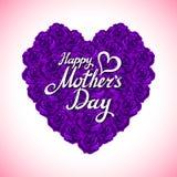Cuore di giorno di madre fatto delle rose viola mazzo del cuore viola delle rose isolato su fondo bianco cuore di giorno di madre Fotografia Stock Libera da Diritti