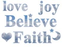 Cuore di Joy Believe Faith Star Moon di amore Illustrazione di Stock