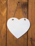 Cuore di legno bianco Fotografia Stock
