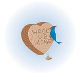Cuore di legno con l'uccello Fotografie Stock Libere da Diritti