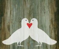 Cuore di legno delle colombe del fondo di giorno di S. Valentino Fotografie Stock Libere da Diritti