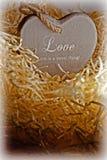 Cuore di legno di amore di Brown in un nido di amore Immagini Stock