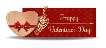 Cuore di legno per il giorno di biglietti di S. Valentino Immagine Stock