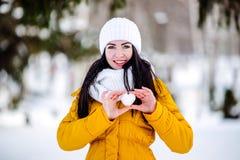 Cuore di neve nelle mani di una ragazza Fotografia Stock Libera da Diritti