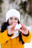 Cuore di neve nelle mani di una ragazza Fotografia Stock