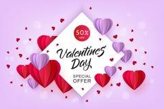 Cuore di origami della carta di vendita di giorno di biglietti di S. Valentino di vettore Immagine Stock Libera da Diritti