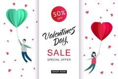 Cuore di origami della carta di vendita di giorno di biglietti di S. Valentino di vettore Immagine Stock
