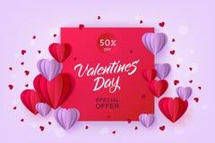 Cuore di origami della carta di vendita di giorno di biglietti di S. Valentino di vettore Fotografia Stock Libera da Diritti