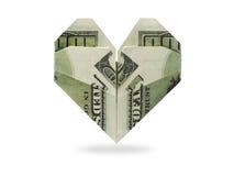 Cuore di origami delle banconote dei dollari Fotografia Stock Libera da Diritti