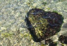 Cuore di pietra subacqueo Fotografia Stock