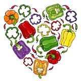Cuore di porpora, rosso, arancio, verde, giallo, Violet Bell Peppers Il pepe di Whal, metà di paprica dolce, taglia Verdure matur Fotografia Stock