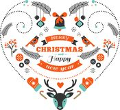 Cuore di progettazione di Natale con gli uccelli e gli elementi Fotografia Stock Libera da Diritti