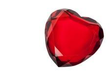 Cuore di vetro rosso isolato su bianco Fotografia Stock Libera da Diritti