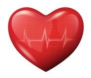 cuore di vettore 3d con l'icona di riflessione del cardiogram Fotografie Stock Libere da Diritti