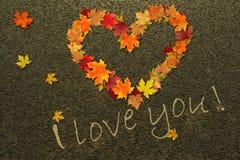 Cuore, dichiarazione di amore, foglie di autunno sulla pavimentazione illustrazione di stock