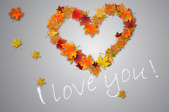 Cuore, dichiarazione di amore, foglie di autunno sulla pavimentazione fotografie stock