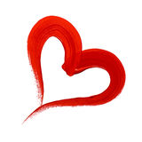 Cuore dipinto rosso Fotografie Stock