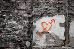 Cuore dipinto spruzzo sulla parete Fotografia Stock Libera da Diritti