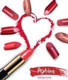 Cuore dissipato con rossetto rosso Rossetto multicolore rotto isolato su fondo bianco bellezza di concetto di giorno di S. Valent illustrazione vettoriale