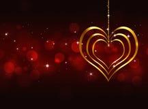 Cuore dorato Valentine Red Background Fotografia Stock