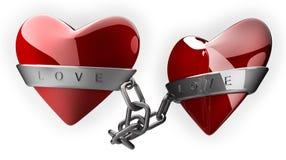 Cuore e catena rossi dell'argento Fotografie Stock