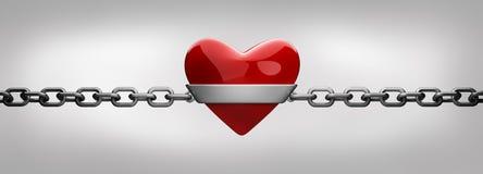 Cuore e catena rossi dell'argento   Immagine Stock