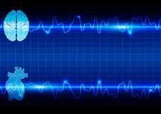 Cuore e cervello astratti sulla sanità e sul fondo medico Immagini Stock Libere da Diritti