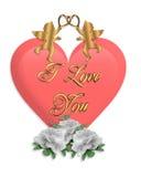 Cuore e Cupids di giorno dei biglietti di S. Valentino Fotografia Stock