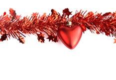 Cuore e decorazioni rosse di Natale della nappa Immagine Stock