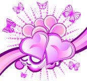 Cuore e farfalle Immagini Stock