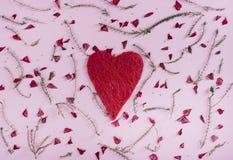 Cuore e fiori del ` s del biglietto di S. Valentino Fotografia Stock Libera da Diritti