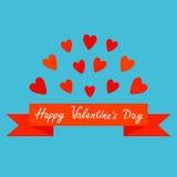 Cuore e nastro rossi volanti Manifesto della stampa Testo felice di giorno di biglietti di S. Valentino Cartolina d'auguri Proget Fotografia Stock