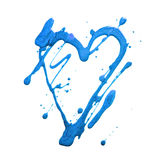 Cuore e punti di scintillio di lustro Macchie blu di tiraggio Fatto a mano Isolato su priorità bassa bianca Stampa del tessuto am Immagine Stock Libera da Diritti