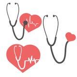 Cuore e stetoscopio di impulso Cura di impulso Elemento per progettazione della medicina Fotografia Stock